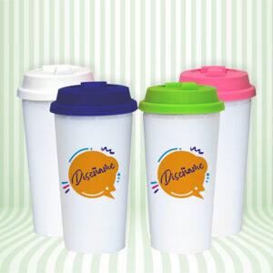Vaso plástico personalizable con tapa a color