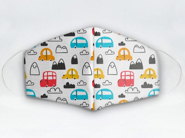 Mascarilla cubrebocas diseño coches