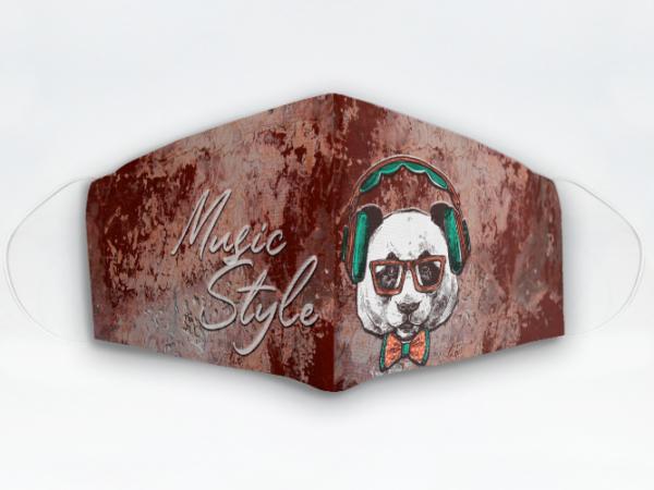 Mascarilla Cubrebocas diseño Bear Music Style