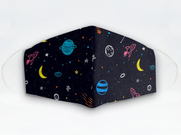 Mascarilla Cubrebocas diseño Planetas